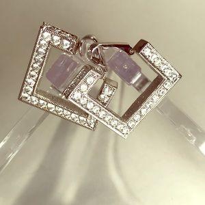 Glittering Clear Stone Clip On Earrings - KJL